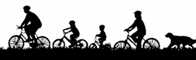 image of biking family